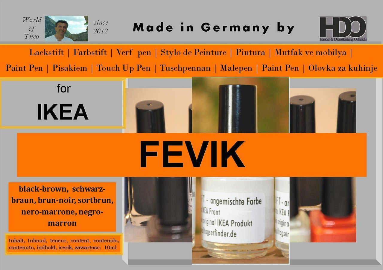 touch-up pen, touch-up paint for IKEA FEVIK black-brown