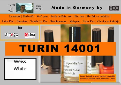 touch-up pen, touch-up paint for artego Turin 14001